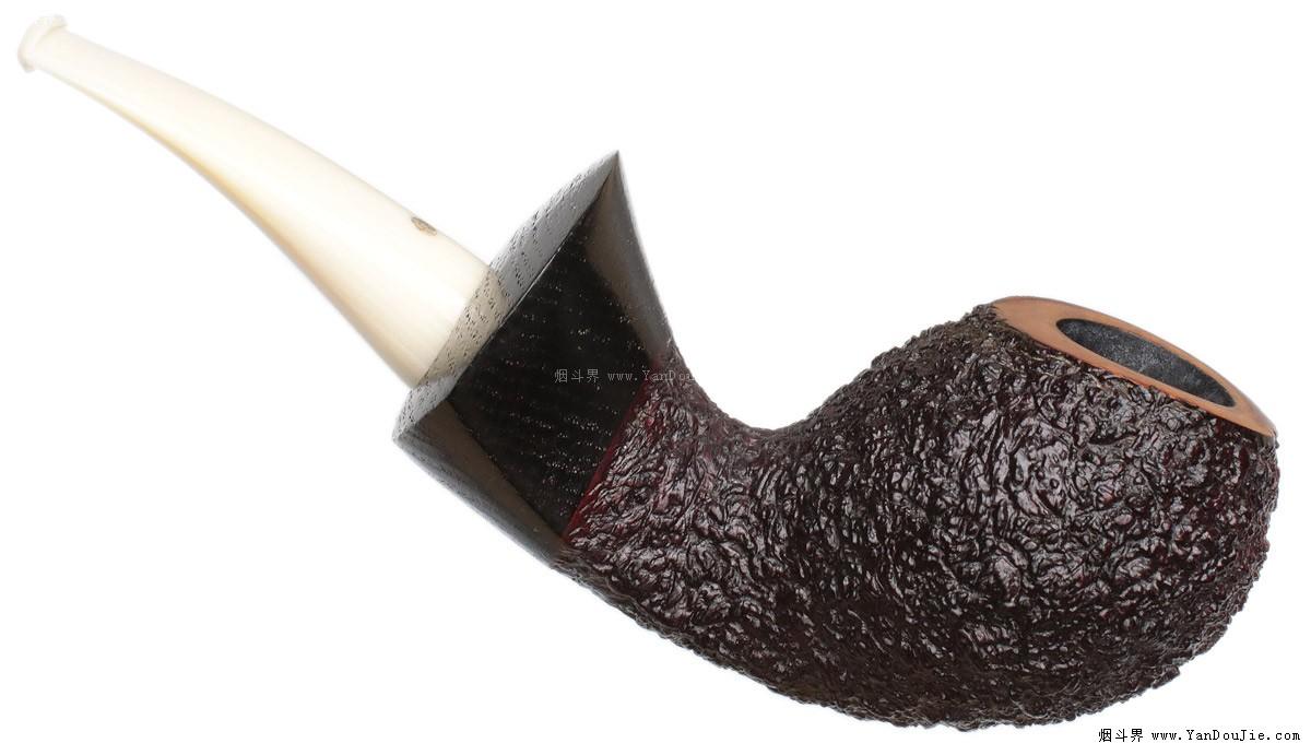 Askwith: Rusticated橡木化石装饰的弯形蛋式烟斗图